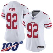 Wholesale Cheap Nike 49ers #92 Kerry Hyder White Women's Stitched NFL 100th Season Vapor Untouchable Limited Jersey