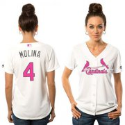 Wholesale Cheap Cardinals #4 Yadier Molina White Mother's Day Cool Base Women's Stitched MLB Jersey