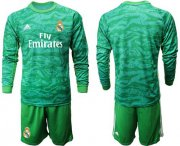 Wholesale Cheap Real Madrid Blank Green Goalkeeper Long Sleeves Soccer Club Jersey