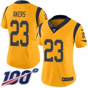 Wholesale Cheap Nike Rams #23 Cam Akers Gold Women's Stitched NFL Limited Rush 100th Season Jersey