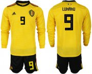 Wholesale Cheap Belgium #9 Lukaku Away Long Sleeves Soccer Country Jersey