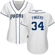 Wholesale Cheap Padres #34 Rollie Fingers White Home Women's Stitched MLB Jersey