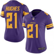 Wholesale Cheap Nike Vikings #21 Mike Hughes Purple Women's Stitched NFL Limited Rush Jersey