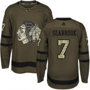 Wholesale Cheap Adidas Blackhawks #7 Brent Seabrook Green Salute to Service Stitched Youth NHL Jersey