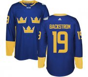 Wholesale Cheap Team Sweden #19 Nicklas Backstrom Blue 2016 World Cup Stitched NHL Jersey