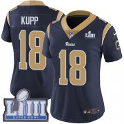 Wholesale Cheap Nike Rams #18 Cooper Kupp Navy Blue Team Color Super Bowl LIII Bound Women's Stitched NFL Vapor Untouchable Limited Jersey