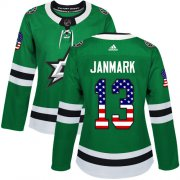 Wholesale Cheap Adidas Stars #13 Mattias Janmark Green Home Authentic USA Flag Women's Stitched NHL Jersey