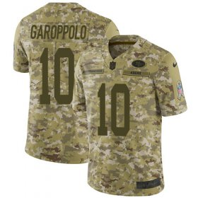 Wholesale Cheap Nike 49ers #10 Jimmy Garoppolo Camo Youth Stitched NFL Limited 2018 Salute to Service Jersey