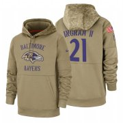 Wholesale Cheap Baltimore Ravens #21 Mark Ingram II Nike Tan 2019 Salute To Service Name & Number Sideline Therma Pullover Hoodie