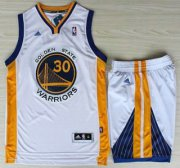 Wholesale Cheap Golden State Warriors 30 Stephen Curry White Revolution 30 Swingman Jerseys Shorts NBA Suits
