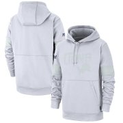 Wholesale Cheap Detroit Lions Nike NFL 100 2019 Sideline Platinum Therma Pullover Hoodie White