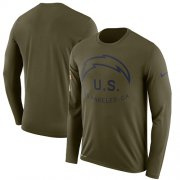 Wholesale Cheap Men's Los Angeles Chargers Nike Olive Salute to Service Sideline Legend Performance Long Sleeve T-Shirt