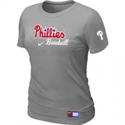 Wholesale Cheap Women's Philadelphia Phillies Nike Short Sleeve Practice MLB T-Shirt Light Grey