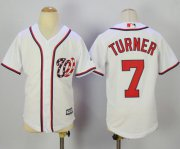 Wholesale Cheap Nationals #7 Trea Turner White Cool Base Stitched Youth MLB Jersey