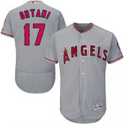 Wholesale Cheap Angels of Anaheim #17 Shohei Ohtani Grey Flexbase Authentic Collection Stitched MLB Jersey