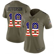 Wholesale Cheap Nike Vikings #18 Justin Jefferson Olive/USA Flag Women's Stitched NFL Limited 2017 Salute To Service Jersey