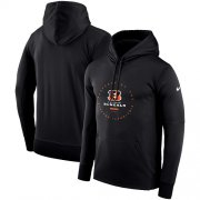 Wholesale Cheap Men's Cincinnati Bengals Nike Black Sideline Property Of Wordmark Logo Performance Pullover Hoodie
