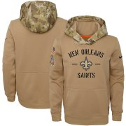 Wholesale Cheap Youth New Orleans Saints Nike Khaki 2019 Salute to Service Therma Pullover Hoodie