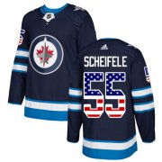 Wholesale Cheap Adidas Jets #55 Mark Scheifele Navy Blue Home Authentic USA Flag Stitched NHL Jersey