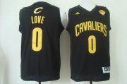 Wholesale Cheap Men's Cleveland Cavaliers #0 Kevin Love 2015 The Finals Black With Gold Jersey
