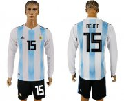 Wholesale Cheap Argentina #15 Acuna Home Long Sleeves Soccer Country Jersey
