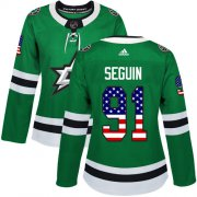 Wholesale Cheap Adidas Stars #91 Tyler Seguin Green Home Authentic USA Flag Women's Stitched NHL Jersey