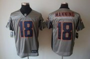 Wholesale Cheap Nike Broncos #18 Peyton Manning Grey Shadow Men's Stitched NFL Elite Jersey