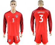 Wholesale Cheap USA #3 Gonzalez Away Long Sleeves Soccer Country Jersey