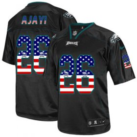 Wholesale Cheap Nike Eagles #26 Jay Ajayi Black Men\'s Stitched NFL Elite USA Flag Fashion Jersey