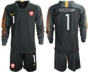 Wholesale Cheap Poland #1 Szczesny Black Goalkeeper Long Sleeves Soccer Country Jersey