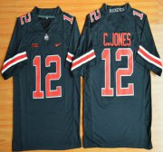 Wholesale Cheap Ohio State Buckeyes #12 Cardale Jones Black With Red 2015 College Football Nike Limited Jersey