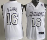 Wholesale Cheap Los Angeles Lakers #16 Pau Gasol Revolution 30 Swingman White Big Color Jersey