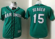 Wholesale Cheap Mariners #15 Kyle Seager Green Cool Base Stitched Youth MLB Jersey