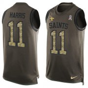 Wholesale Cheap Nike Saints #11 Deonte Harris Green Men's Stitched NFL Limited Salute To Service Tank Top Jersey