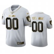 Wholesale Cheap Las Vegas Raiders Custom Men's Nike White Golden Edition Vapor Limited NFL 100 Jersey