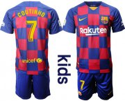 Wholesale Cheap Barcelona #7 Coutinho Home Kid Soccer Club Jersey