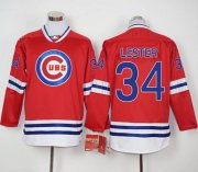 Wholesale Cheap Cubs #34 Jon Lester Red Long Sleeve Stitched MLB Jersey
