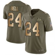 Wholesale Cheap Nike Bengals #24 Vonn Bell Olive/Gold Men's Stitched NFL Limited 2017 Salute To Service Jersey