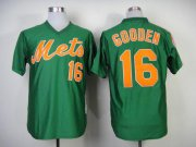 Wholesale Cheap Mitchell and Ness 1985 Mets #16 Dwight Gooden Green Throwback Stitched MLB Jersey