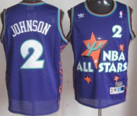 Wholesale Cheap NBA 1995 All-Star #2 Larry Johnson Purple Swingman Throwback Jersey