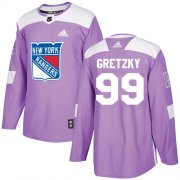 Wholesale Cheap Adidas Rangers #99 Wayne Gretzky Purple Authentic Fights Cancer Stitched Youth NHL Jersey