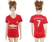 Wholesale Cheap Women's Manchester United #7 Ronaldo Red Home Soccer Club Jersey