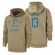 Wholesale Cheap Los Angeles Chargers #13 Keenan Allen Nike Tan 2019 Salute To Service Name & Number Sideline Therma Pullover Hoodie