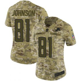 Wholesale Cheap Nike Lions #81 Calvin Johnson Camo Women\'s Stitched NFL Limited 2018 Salute to Service Jersey
