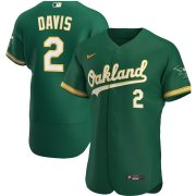 Wholesale Cheap Oakland Athletics #2 Khris Davis Men's Nike Kelly Green Alternate 2020 Authentic Player MLB Jersey