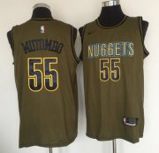 Wholesale Cheap Denver Nuggets #55 Dikembe Mutombo Olive Nike Swingman Jersey