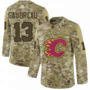 Wholesale Cheap Adidas Flames #13 Johnny Gaudreau Camo Authentic Stitched NHL Jersey