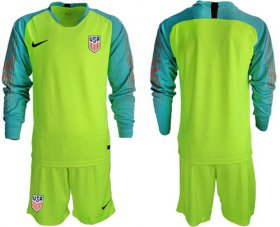 Wholesale Cheap USA Blank Shiny Green Goalkeeper Long Sleeves Soccer Country Jersey