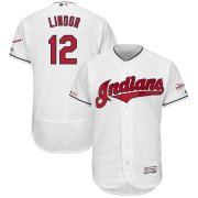 Wholesale Cheap Cleveland Indians #12 Francisco Lindor Majestic Home 2019 All-Star Game Patch Flex Base Player Jersey White