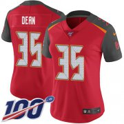Wholesale Cheap Nike Buccaneers #35 Jamel Dean Red Team Color Women's Stitched NFL 100th Season Vapor Untouchable Limited Jersey